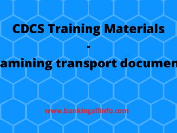 CDCS Training Materials - Examining transport documents