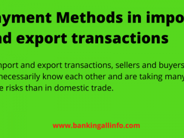 Payment Methods in import and export transactions