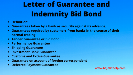 Letter of Guarantee and Indemnity Bid Bond