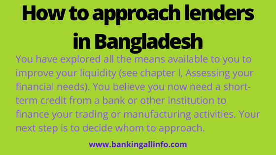 How to approach lenders in Bangladesh