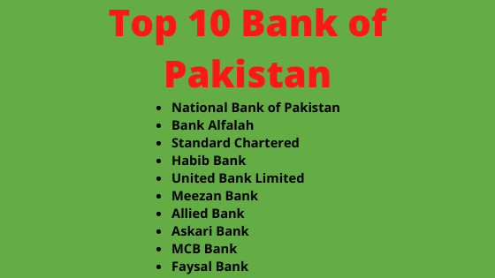 Top 10 Bank of Pakistan