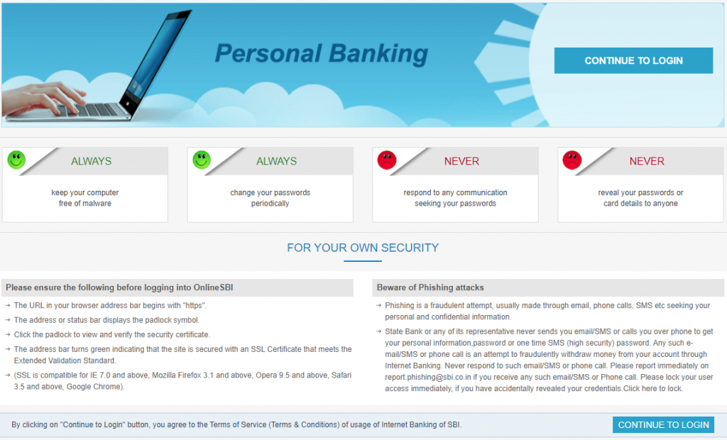 SBI Net Banking Login Step-3