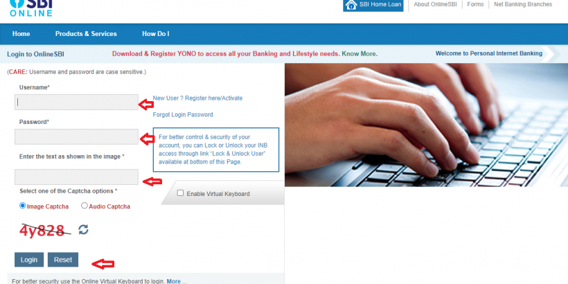 SBI Net Banking Login Step- 4