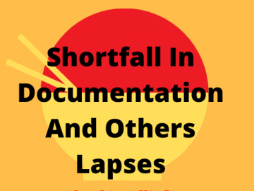 Shortfall documentation and others lapses